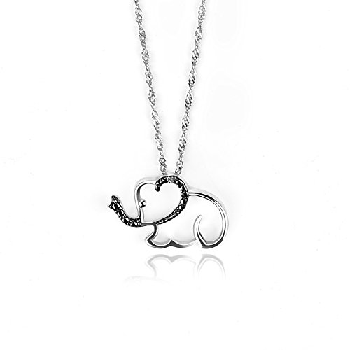 Elephant Accent Pendant Diamond (GemsChest Sterling Silver Diamond Accent Elephant Necklace 18