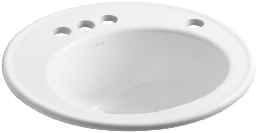 Kohler Traditional Soap Lotion (KOHLER K-2202-4R-0 Brookline Self-Rimming Bathroom Sink with 4