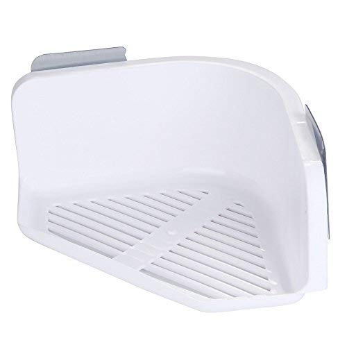 Maikouhai Plastic Suction Cup Bathroom Kitchen Corner Storage Rack Organizer Shampoo Soap Towel Shower Shelf Set - 1 Shower Shelf and 2 Sucker - 24x12.5x7cm (White)