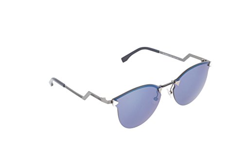 (Fendi Women's Iridia Crystal Corner Sunglasses, Trans Dove Grey/Khaki Blue, One Size)
