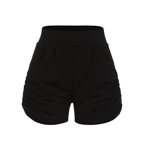 (Farjing Women Shorts, Lady Summer Beach Trousers,Summer Solid Loose Hot Pants(S,Black))
