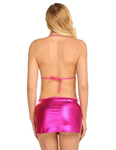 donna Costume da edited in lingerie per Clubwear Rosa donna con pelle verniciata sexy Rossa da nuova Babydoll qpIdwwnB5x