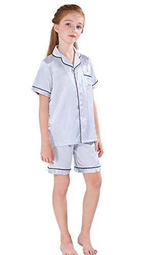 Horcute Pajamas Little Kid Sleepwears Set Pjs Clothes Short Sleeve Silver 130# -