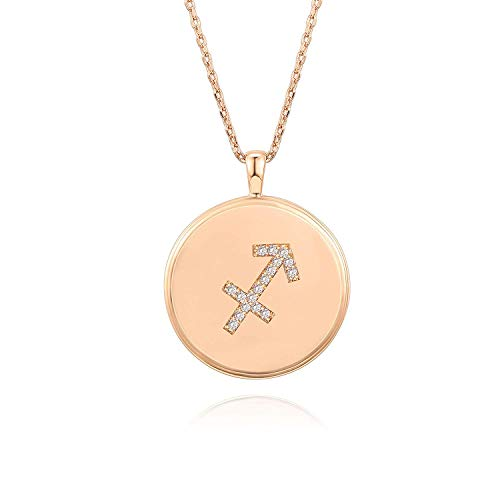 PAVOI 14K Rose Gold Plated Astrology Coin Constellation Necklace | Dainty Necklace for Women - Sagittarius ()