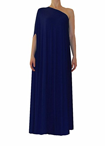 E K Sexy one shoulder maxi dress Plus size long formal evening floor length gown-3x-4x-navy blue by E K