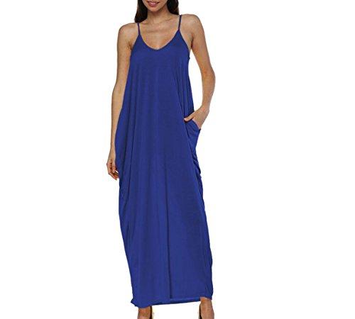 Allentata Slittamento Spiaggia Navy Spaghetti Di Domple Prendisole Maxi Cinghia Womens Di Blu Vestito Tasche Dalla Fit TqH4xIS