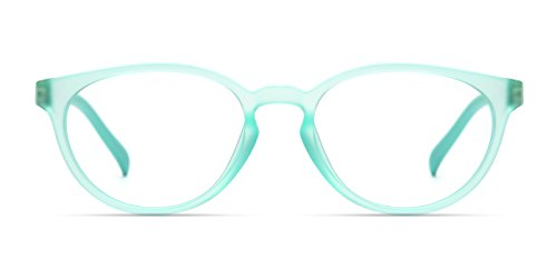 TIJN Kids Flex Oval Eyeglasses Frame for Girls Toddler Mint Blue