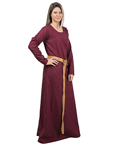 (Lena Medieval Viking Renaissance Cotton Women Underdress - Made in Turkey, 3XL-Burg.)