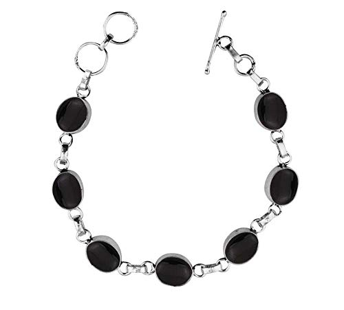 (Genuine Oval Shape Black Onyx Link Bracelet 925 Silver Overlay Handmade Vintage Bohemian Style Jewelry for Women Girls)