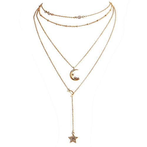 Dainty Layered Necklace Boho Moon Star Pendant Choker Lariat Choker Necklace for Woman - Necklace Star Lariat