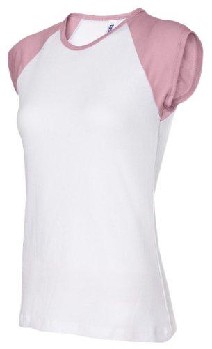 Bella Baby Rib Cap Sleeve Raglan T-Shirt. 2020 - Small - White / Pink