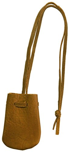 Small Brown Leather Drawstring Medicine Tobacco Pouch/Bag/Necklace Missouri Brown Leather