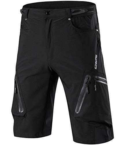 Outto Men's Water Repellent MTB Baggy Cycling Shorts, Loose-Fit Biking 1/2 Pants, Outdoor Sports Leisure Bottoms (38-40,1202 Black)