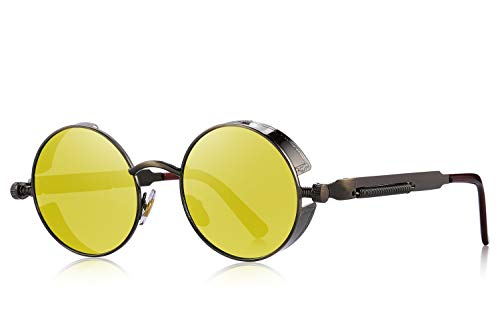 MERRY'S Gothic Steampunk Sunglasses for Women Men Round Lens Metal Frame S567