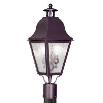 Livex Lighting 2552-07 Amwell - Two Light Outdoor Post Light, Bronze Finish with Seeded Glass