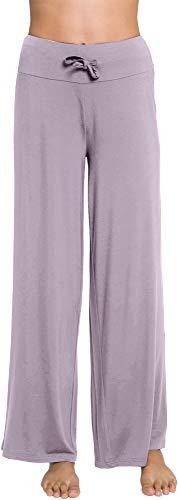 WiWi Womens Bamboo Lounge Pants Casual Wide Leg Pajama Pant Stretch Sleep Bottoms Plus Size Sleepwear S-4X, Violet, XX-Large