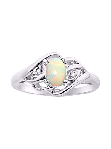 Diamond & African Opal Ring Set In Sterling Silver .925