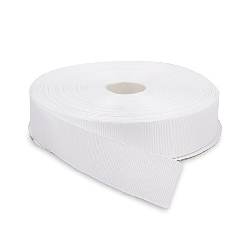 (Topenca Supplies 1 Inches x 50 Yards Double Face Solid Grosgrain Ribbon Roll, White)