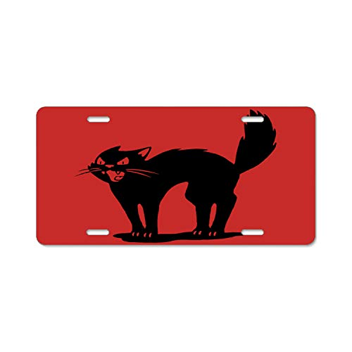Hongningx Personalized Name On License Plate - Halloween Cat Custom Auto Car Tag ()