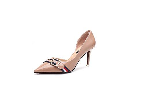 Zapatos de Mujer Nueva Primavera de Cuero Confort de Verano Zapatos de la Novedad Zapatos para Caminar Tacón de Aguja Puntiagudos para el Banquete de Boda y la Noche A