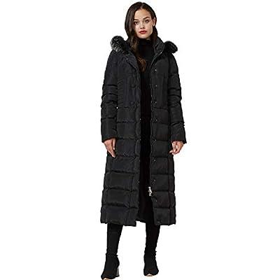 Molodo Women's Long Down Coat with Fur Hood Maxi Down Parka Puffer Jacket: Clothing