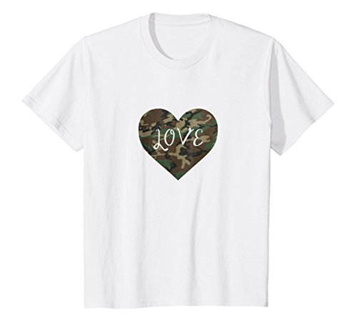 Camo Heart T-shirt - Kids I Love You American Soldier Troops Camo Heart Emoticon Shirt 12 White