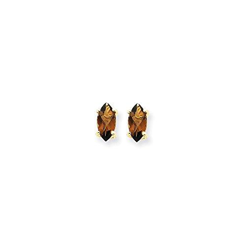 Perfect Jewelry Gift 14k 7x3.5 Marquise Checker-Cut Smoky Quartz Earring