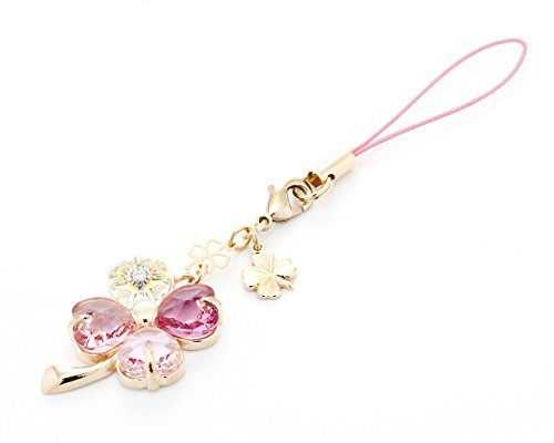 Cell phone Strap 029 four-leaf clover - Gradation(Pink3+Crystal Aurora)Gold Court from Kisaragi