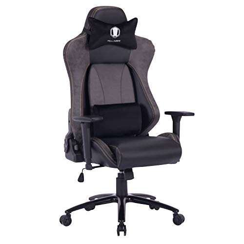 KILLABEE Big and Tall Gaming Chair Racing Office Chair – Adjustable Back Angle, Soft Fabric Lumbar Support and Arms Ergonomic High-Back Leather Computer Desk Swivel Chair w/Metal Base, Gray
