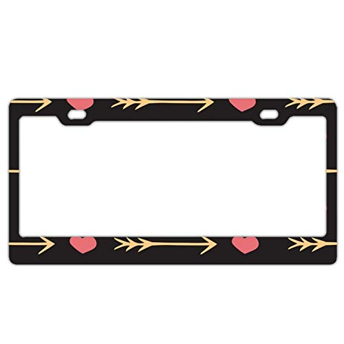 (MALBX License Plate Frames,Love's Romantic Heart and Arrow Stainless Steel Car Licence Plate Covers Slim Design with Bolts Washer Caps for US Standard)