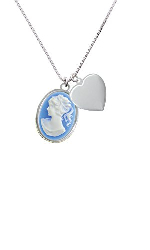 Oval - Blue Cameo - Heart Locket Necklace, 18
