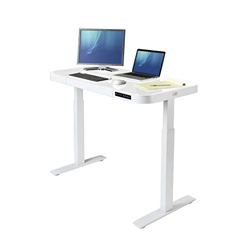 Seville Classics OFF65873 Airlift Tempered Glass Electric Standing Desk with Drawer, 2.4A USB Ports, 3 Memory Buttons (Max. Height 47