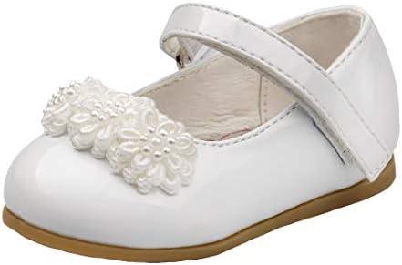 Josmo Baby Girls Patent Dressy Shoe Chiffon Flower Infant, Toddler Baby Flats