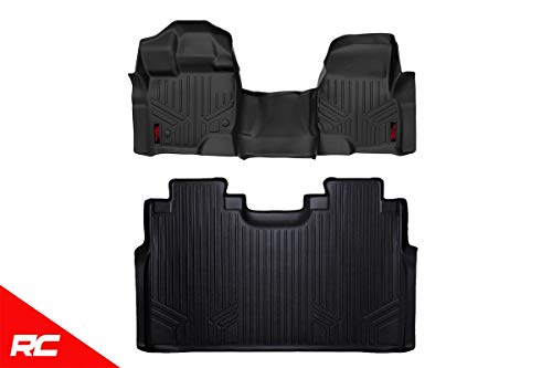 Rough Country Floor Liners (fits) 2015-2019 F150 (F-150) SuperCrew Bench 1st 2nd Row Black Weather Floor Mats M-51153 (2018 Rough Country)