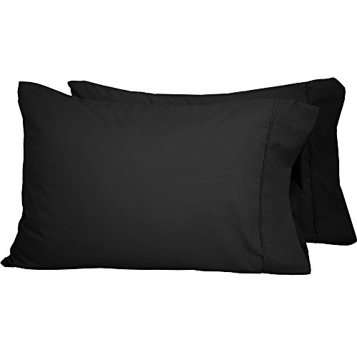 Black Pillow - Premium 1800 Ultra-Soft Microfiber Pillowcase Set - Double Brushed - Hypoallergenic - Wrinkle Resistant (King Pillowcase Set of 2, Black)