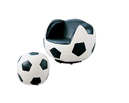 Major-Q 2 Pc Pack Youth Style Soccer Sport Theme 360 Degrees Swivel Chair and Ottoman Set 9005525