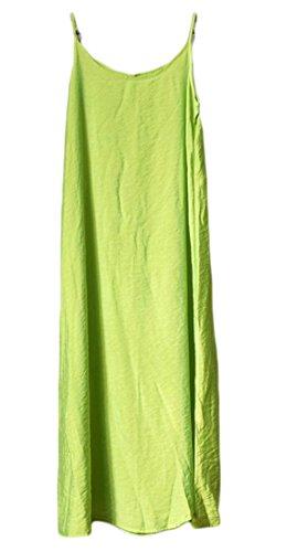 Courroie De Spaghetti Une Ligne Décontractée Des Femmes Cromoncent Réservoir De Coton Solide Robe Top Vert