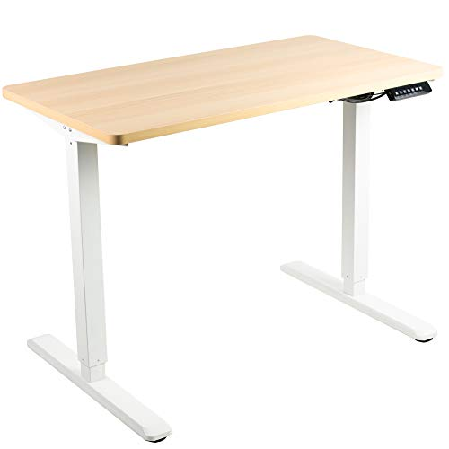 VIVO Electric 43 x 24 inch Stand Up Desk, Light Wood Solid One-Piece Table Top, White Frame, Height Adjustable Standing Workstation with Memory Preset Controller (DESK-KIT-1W4C)