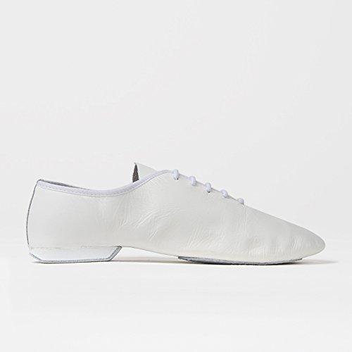 Rumpf Jazzschuhe Basic II 1270 für Gymnastik Jazz Tanz, Leder mit geteilter Chromledersohle Farbe weiß, Größe 46,5