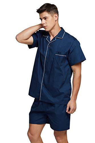 TONY AND CANDICE Men's Cotton Pajamas, Short Sleeve Pajama Set Woven Button-Down Sleepwear Loungewear Nightwear (Navy Blue, XX-Large)