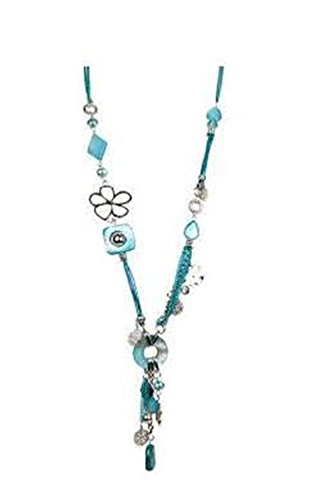 Pendant Necklace for women-Girls Surgical Steel Candy Rhodium Plated Colors Multi Elements w/ Gem Stones Rope Fashion Necklace (Aqua) (Color Plated Rhodium)