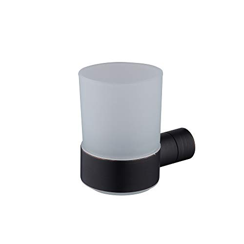 Hiendure Wall Mounted Brass Toothbrush Holder with a Frosted Glass Tumbler, Oil Rubbed Bronze