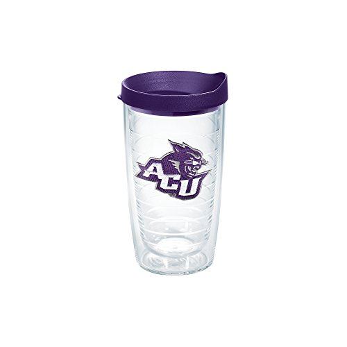 Tervis 1141472 Abilene Christian University Emblem Individual Tumbler with Royal Purple lid, 16 oz, Clear