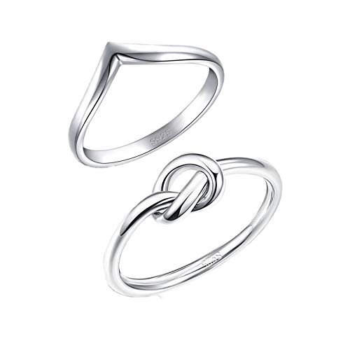 (MoAndy 2PCS 925 Sterling Silver Womens Rings Girls Wave Thumb Love Knot Rings Size 9)