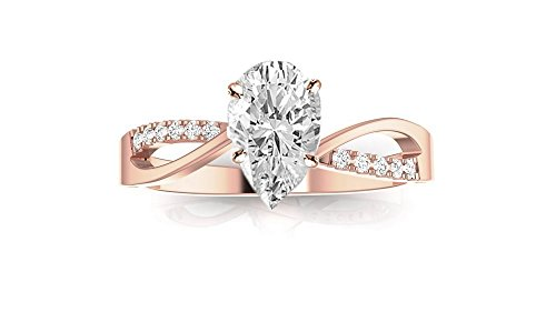 0.58 Ctw 14K Rose Gold Elegant Intertwine Twisting Split Shank Pear Cut Diamond Engagement Ring (0.5 Ct I Color VS2-SI1 Clarity Center Stone) ()