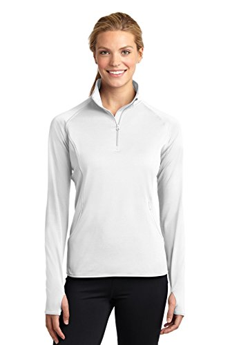 Sport-Tek Ladies Sport-Wick Stretch 1/2-Zip Pullover, 4XL, White - Sport Tek White Sweatshirt