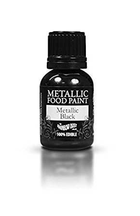 Ready-to-use Metallic Black 100% Edible Food Paint for Cake and Icing Decoration by Rainbow Dust -
