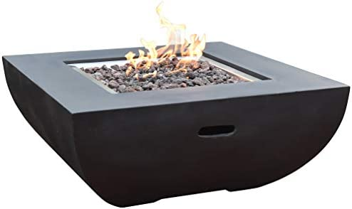 Modeno Aurora Outdoor Firepit Table Grey Durable Round Fire Bowl Glass Fiber Reinforced Concrete Patio Fireplace 34 Inches Electronic Ignition Cover Lava Rock Included Natural Ga