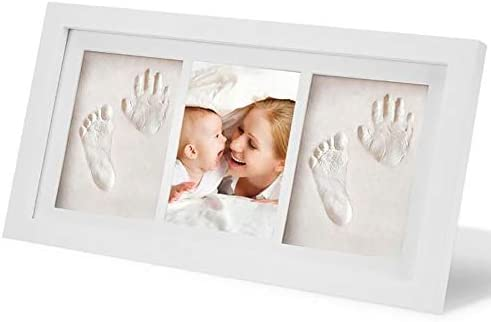 YONGYAN Baby Hand & Footprint Table Picture Frame Wooden Keepsake Kit Personalized Combination Wall Photo Frame