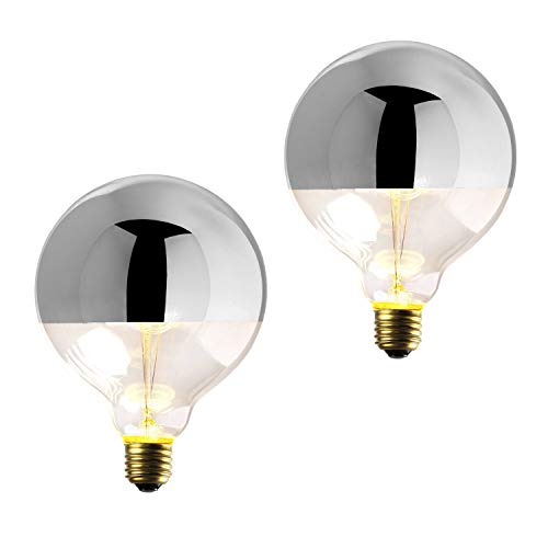 2 Silver Tipped G40 Bulbs, Dimmable, 40W (E26) (Amber Table Lamp Chrome)